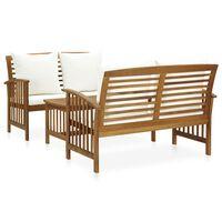 vidaXL Salon de jardin 3 pcs avec coussins Bois d'acacia solide