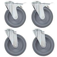 vidaXL 12 pcs Roulettes pivotantes à trou de boulon 125 mm