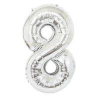 Ballon 53 cm, numéro 8 - argent