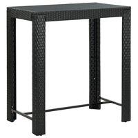 vidaXL Table de bar de jardin Noir 100x60,5x110,5 cm Résine tressée