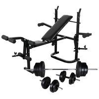 vidaXL Banc d'entraînement avec support de poids jeu d'haltères 60,5kg
