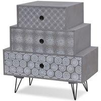 vidaXL Table de chevet avec 3 tiroirs Gris