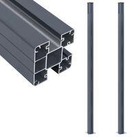 vidaXL Poteaux de clôture 2 pcs Gris foncé 185 cm Aluminium