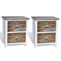 vidaXL Table de chevet 2 pcs avec 2 tiroirs Marron et blanc