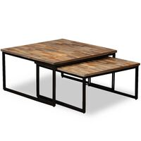 vidaXL Table basse gigogne 2 pcs Teck massif de récupération