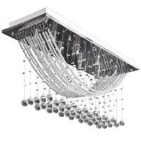 Plafonnier avec perles en verre cristal Étincelant Blanc 8 x G9 29 cm