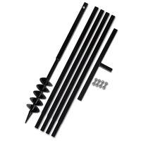 vidaXL Tarière de sol avec manche 100 mm et tube d'extension 5 m Acier