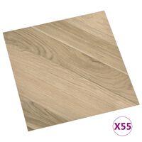 vidaXL Planches de plancher autoadhésives 55pcs PVC 5,11m² Marron rayé