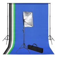 vidaXL Kit de studio photo avec toile de fond et boîte à lumière