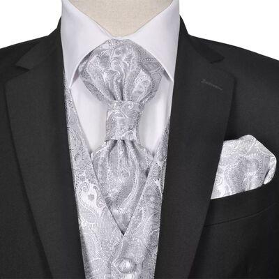 vidaXL Ensemble de gilet de mariage pour hommes Taille 50 Argenté