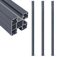 vidaXL Poteaux de clôture 3 pcs Gris foncé 185 cm Aluminium