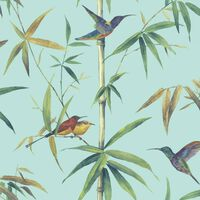 Noordwand Papier peint Kolibri and Bamboo Turquoise , Turquoise