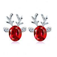 Boucles d'oreilles renne en argent pour Noël - argent / rouge