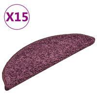 vidaXL Tapis de marches d'escalier 15 pcs Violet foncé 56x17x3 cm