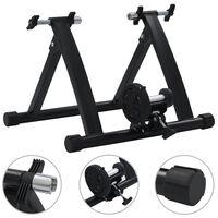 vidaXL Support à rouleau pour vélo d'appartement 26po-28po Acier Noir