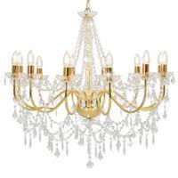 vidaXL Lustre avec perles Doré 12 ampoules E14