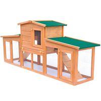 vidaXL Clapier large pour petits animaux avec toits Bois