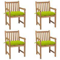 vidaXL Chaises de jardin 4 pcs avec coussins vert vif Teck solide