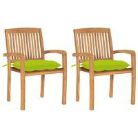 vidaXL Chaises de jardin 2 pcs avec coussins vert vif Teck massif