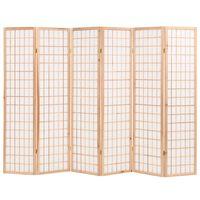 vidaXL Cloison de séparation 6 panneaux Style japon 240x170 cm Naturel
