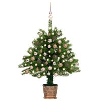 vidaXL Sapin de Noël artificiel avec LED et boules 65 cm Vert
