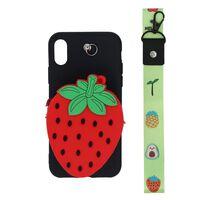 Coque de téléphone 3D avec poche à monnaie pour iPhone XS - fraise
