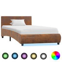 vidaXL Cadre de lit avec LED Marron Tissu 90 x 200 cm