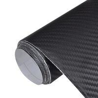 vidaXL Film de voiture Vinyle de fibre de carbone 3D Noir 152 x 200 cm