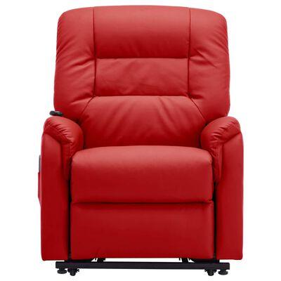 vidaXL Fauteuil inclinable de massage TV électrique Rouge Similicuir