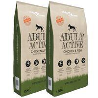 vidaXL Nourriture pour chiens Adult Active Chicken & Fish 2 pcs 30 kg