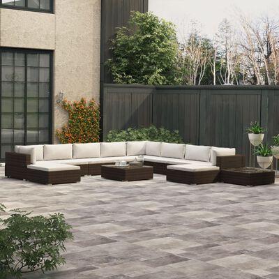 vidaXL Salon de jardin 12 pcs avec coussins Résine tressée Marron, Brown