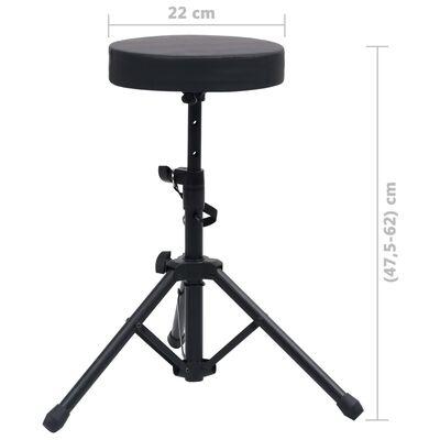 vidaXL Tabouret à tambour réglable Noir Rond