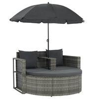 vidaXL Canapé de jardin avec coussins et parasol Gris Résine tressée