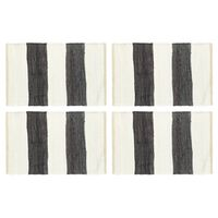 vidaXL Napperons 4 pcs Chindi Bande Anthracite et blanc 30 x 45 cm