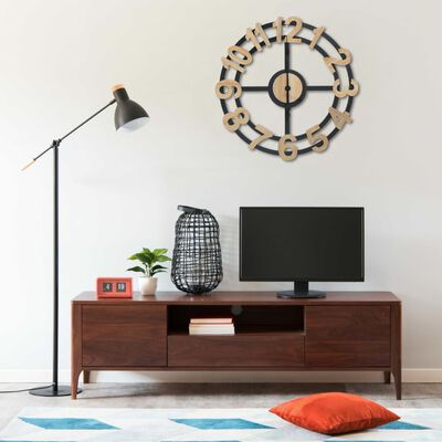 vidaXL Horloge murale Doré et noir 63,5 cm MDF