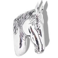 vidaXL Décoration murale en forme de tête de cheval Aluminium Argenté