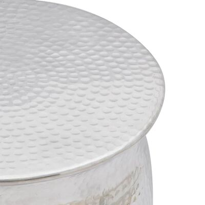 vidaXL Table basse/tabouret martelé en aluminium Argenté
