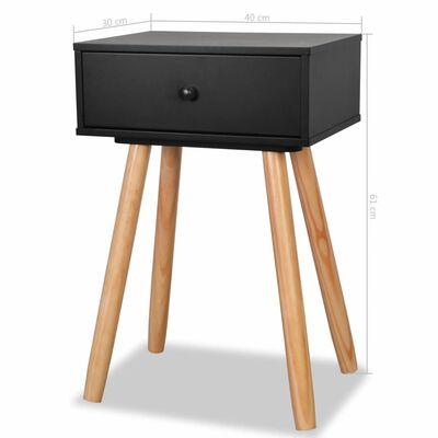 vidaXL Table de chevet 2 pcs Bois de pin massif 40 x 30 x 61 cm Noir