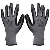 vidaXL Gants de travail Nitrile 24 paires Gris et noir Taille 8/M