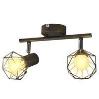 vidaXL Projecteur Style industriel Noir avec 2 ampoules à filament LED