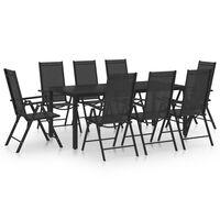 vidaXL Ensemble de salle à manger de jardin 9 pcs Aluminium Noir