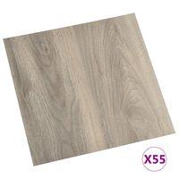 vidaXL Planches de plancher autoadhésives 55 pcs PVC 5,11 m² Taupe