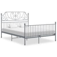 vidaXL Bed Frame Grey Metal and Plywood 160x200 cm