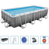 Bestway Ensemble de piscine Power Steel Rectangulaire 549x274x122 cm