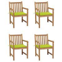vidaXL Chaises de jardin 4 pcs avec coussins vert vif Bois de teck