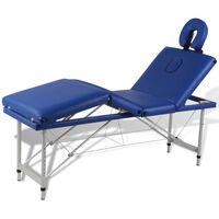 vidaXL Table pliable de massage Bleu 4 zones avec cadre en aluminium