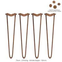 4 Pieds de Table en Épingle à Cheveux 71cm 2 Tiges Épaisseur 10mm