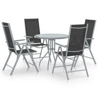 vidaXL Ensemble à dîner de jardin 5 pcs Aluminium et textilène Argenté
