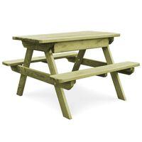 vidaXL Table de pique-nique et bancs 90x90x58 cm Pinède imprégnée