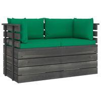 vidaXL Canapé palette de jardin 2 places avec coussins Bois de pin